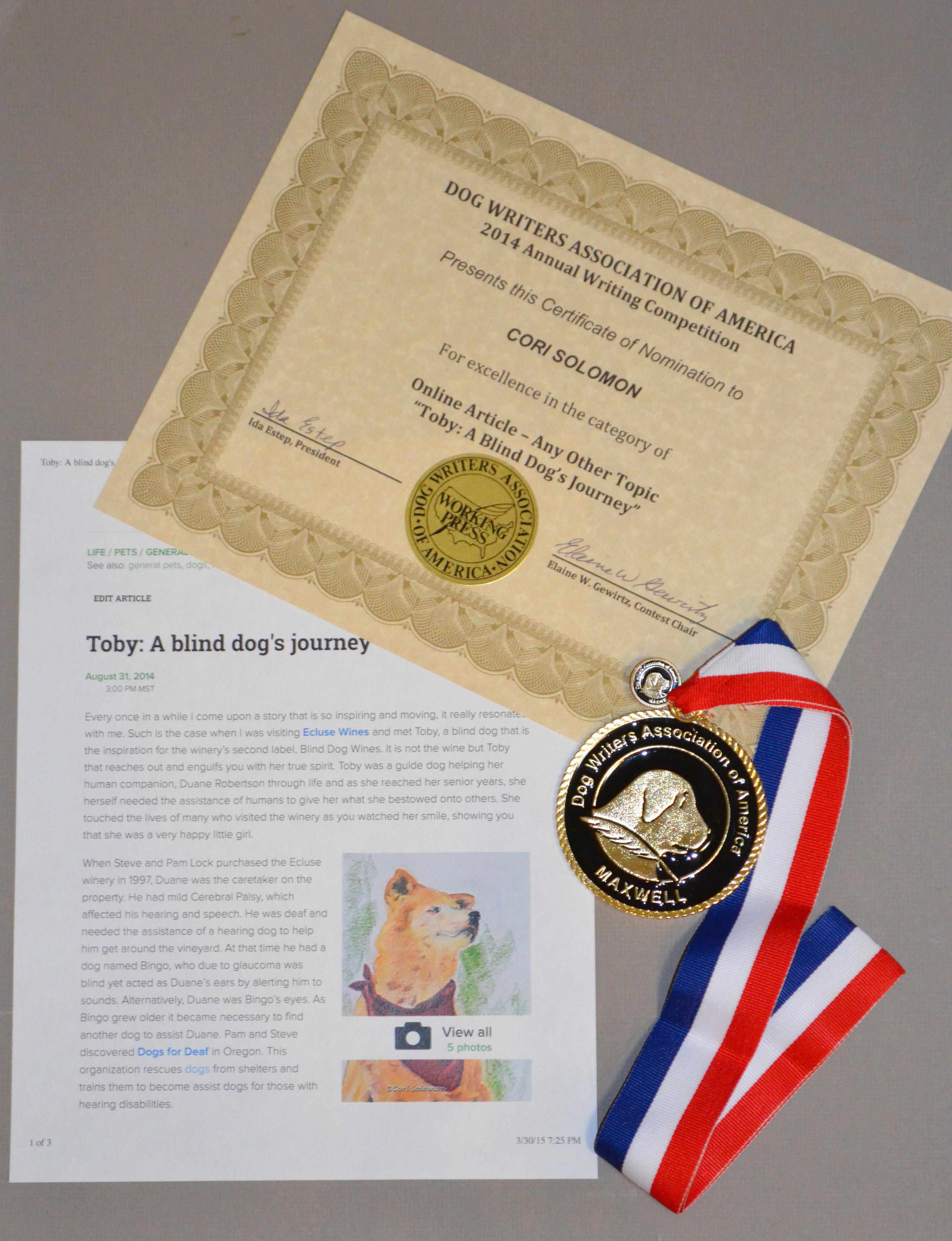 Dog Writers Association of America Maxwell Award