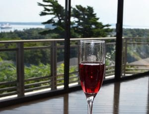 Bar Harbor View with Glass of Wine