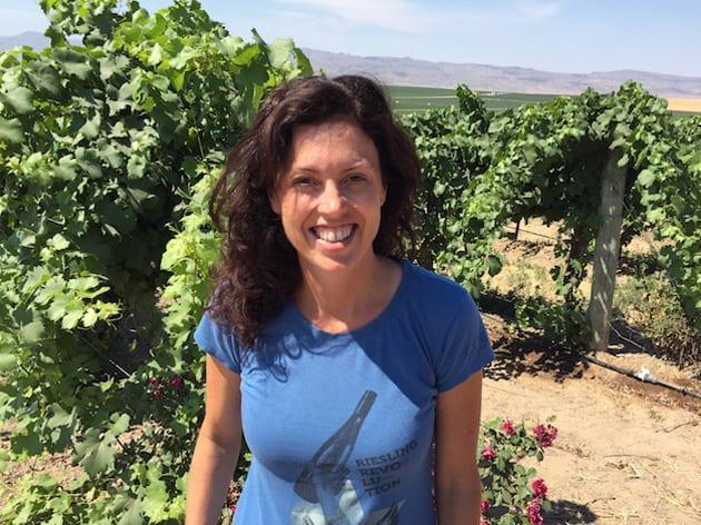 Leslie Preston in vineyards