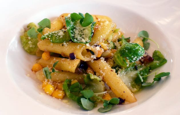Cafe Del Rey Gluten Free Pasta with Brussels Sprout Leaves, Corn and Bacon