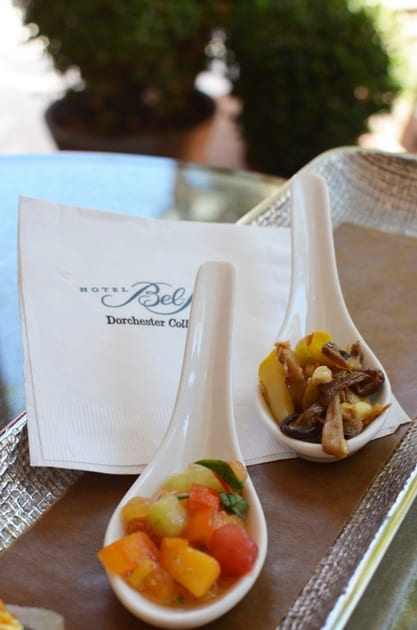 Appetizers at the Hotel Bel Air