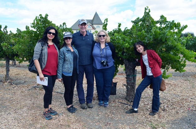 John Concannon joined by LA Wine Writers standing with the Cabernet Sauvignon Mother Vine