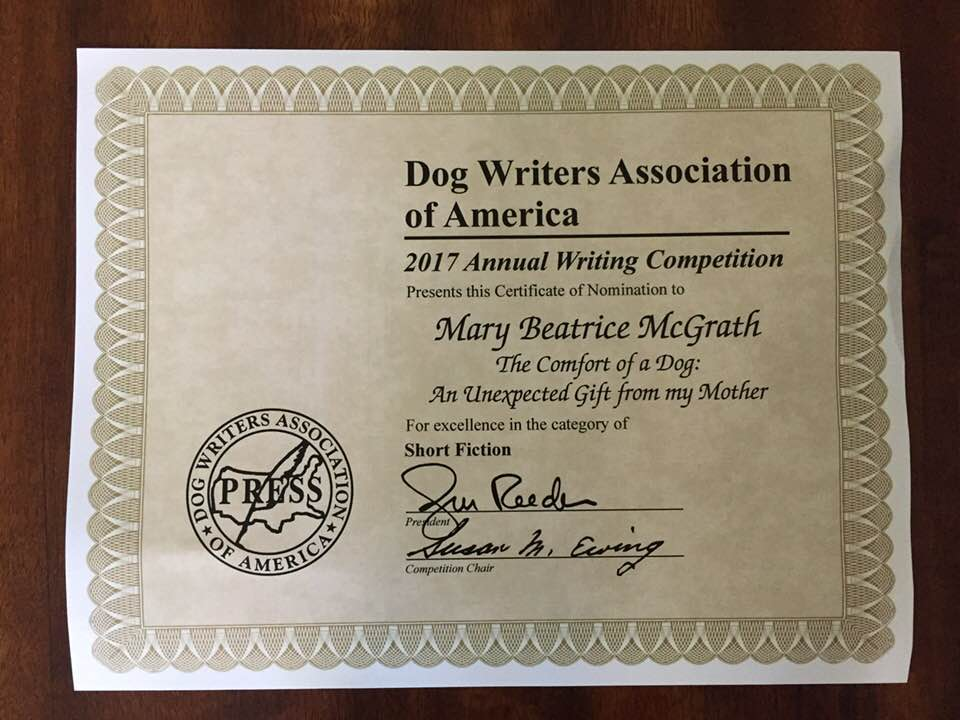 Certificate of Nomination Written Palette Guest Writer, Mary McGrath from the DWAA